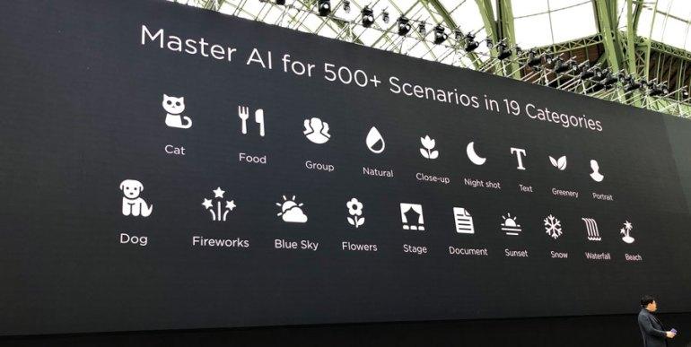 Tipos de escenas o sujetos reconocidos por IA del P20