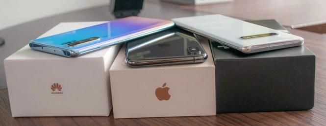 Huawei P30 Pro, iPhone XS Max y Samsung Gálaxy S10+