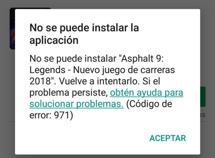 Cómo solucionar el error 971 de Google Play?