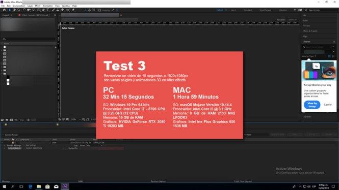 Test de render en Adobe After Effects