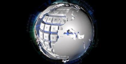 Imagen del planeta en guerra cibernética