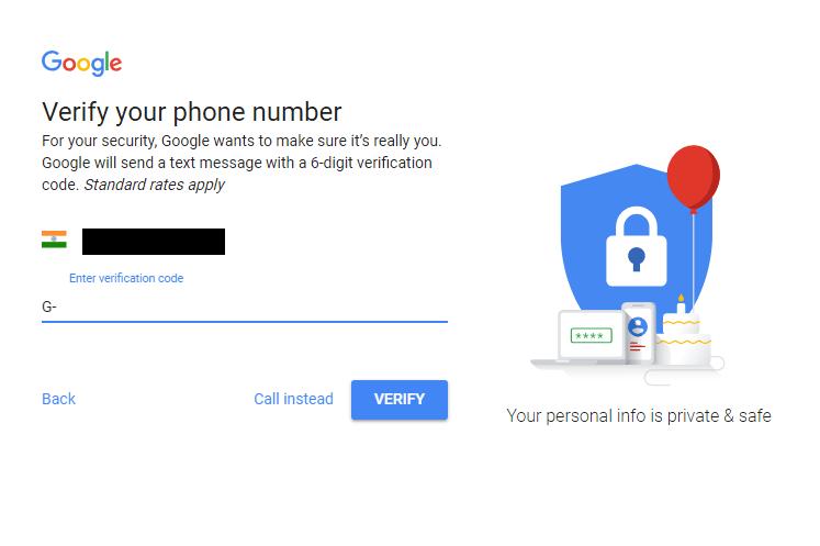 Creating a Gmail Account Screenshot 4