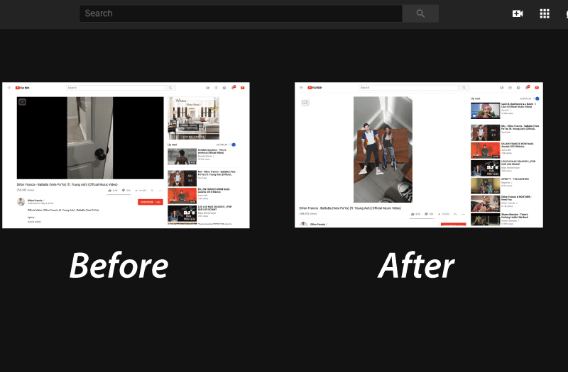 YouTube Web Player Adapts Different Aspect Ratio