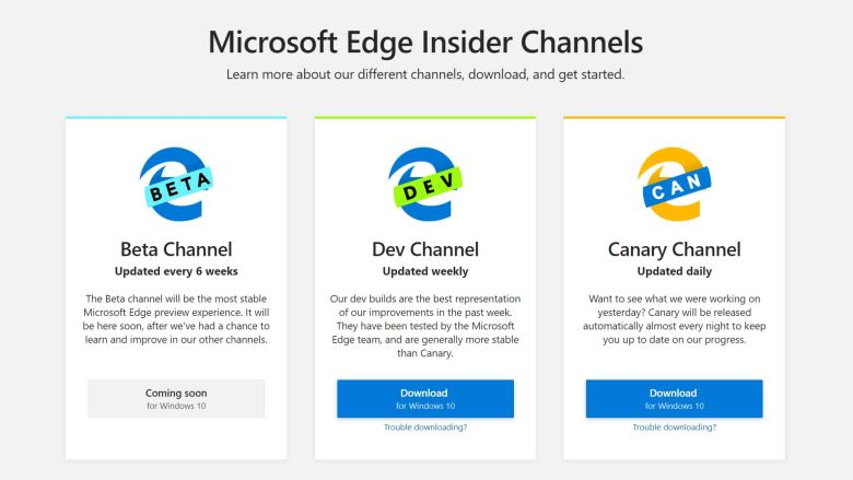 Microsoft Edge Inside Preview Build Available to Download in Different Channels
