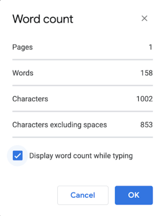 New Option in Word Count (Google Docs)