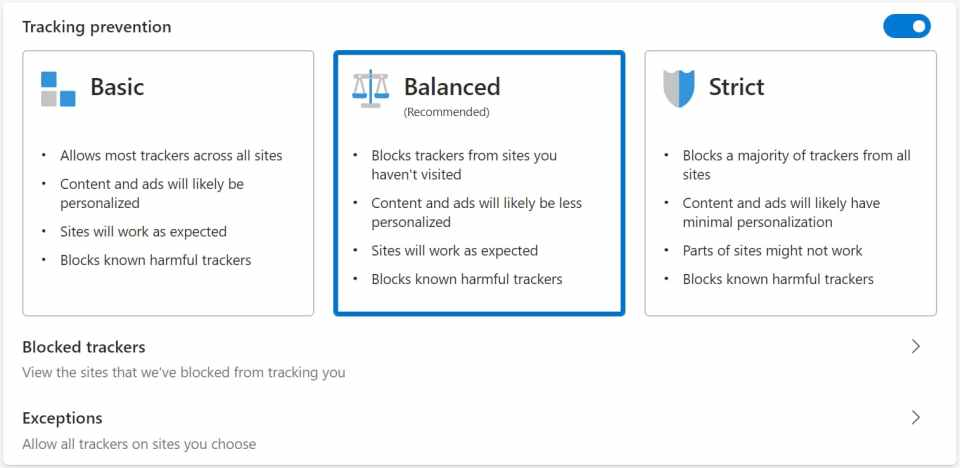 Chromium Edge Browser Anti Tracking Options