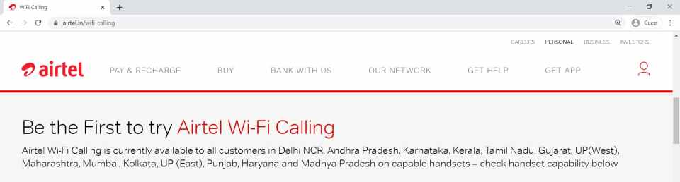 Circles Where Airtel WiFi Calling Service is available
