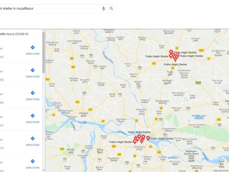 Google Maps COVID 19 Relief Shelters India