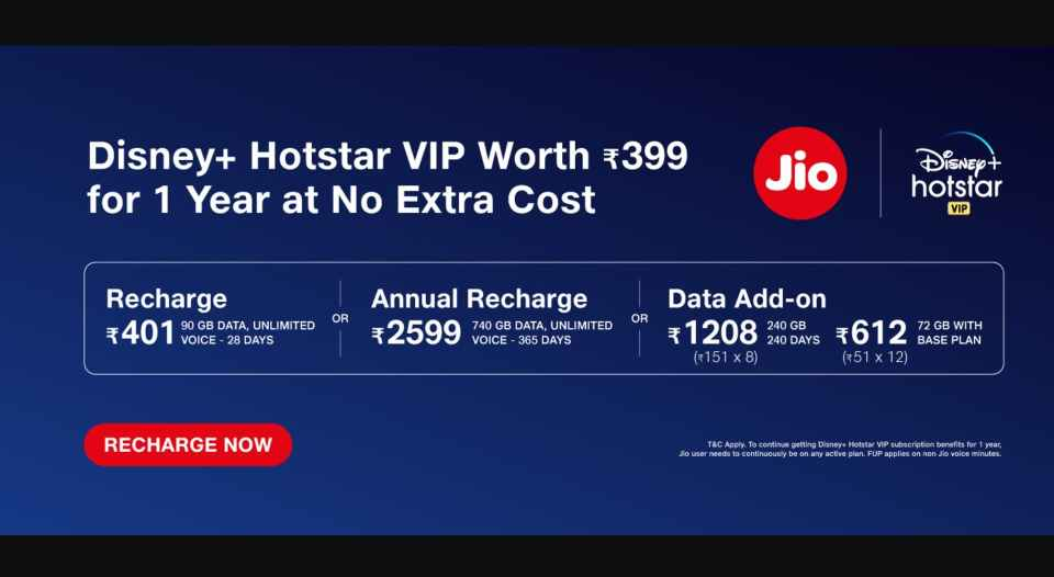 Jio Plans with free one year subscription to Disney Plus Hotstar VIP