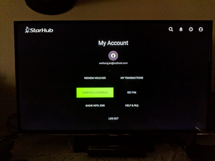 Parental Control and R21 Pin on StarHub Go Streaming Box