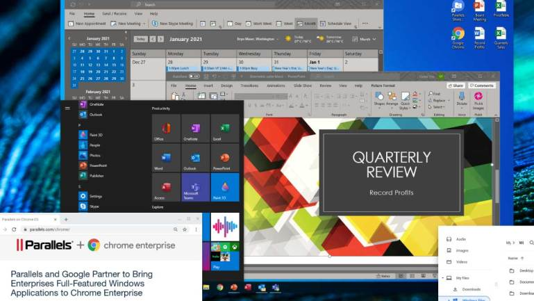 Windows 10, Windows Start Menu, Outlook, and PowerPoint are running, with Microsoft Office and other full-featured Windows apps installed, in a Parallels Desktop for Chromebook Enterprise virtual machine on Chrome OS.