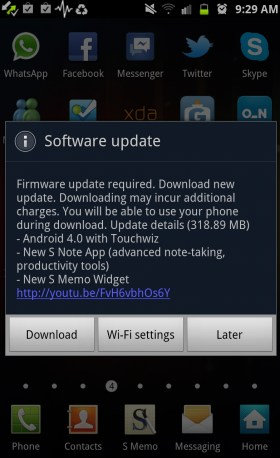 Samsung Galaxy Note Android 4.0 update