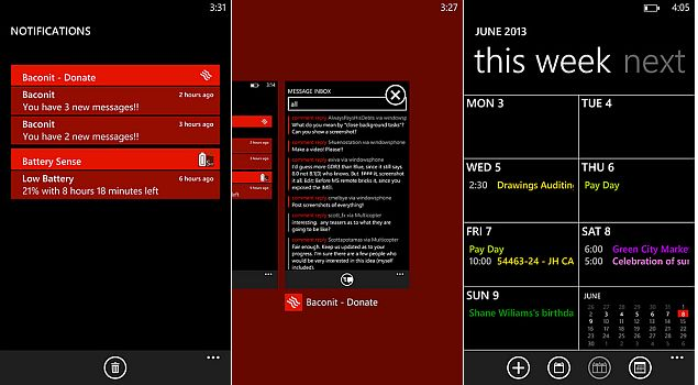 Windows Phone Notifacations Center