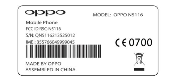 Oppo N1 mini FCC