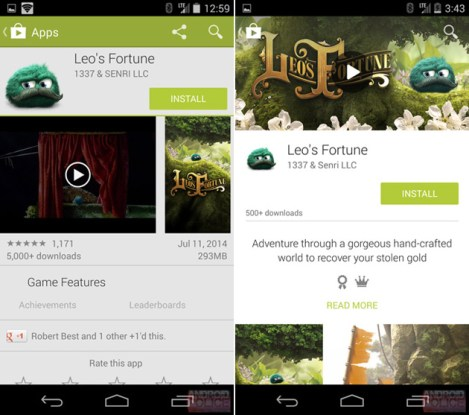 Redesigned Play Store with Material Design