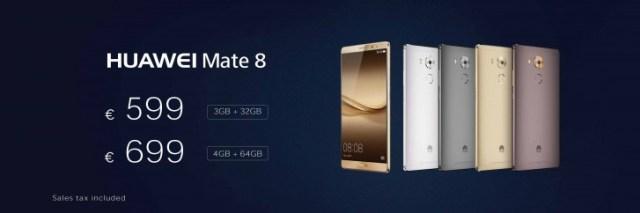Huawei Mate 8 Europe prices