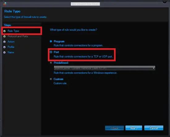 Windows firewall rule type