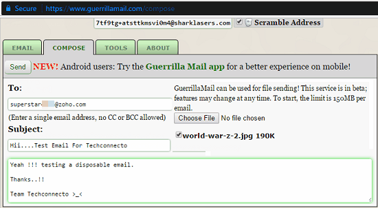 compose email guerrilla mail