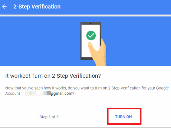 2 factor authentication on gmail