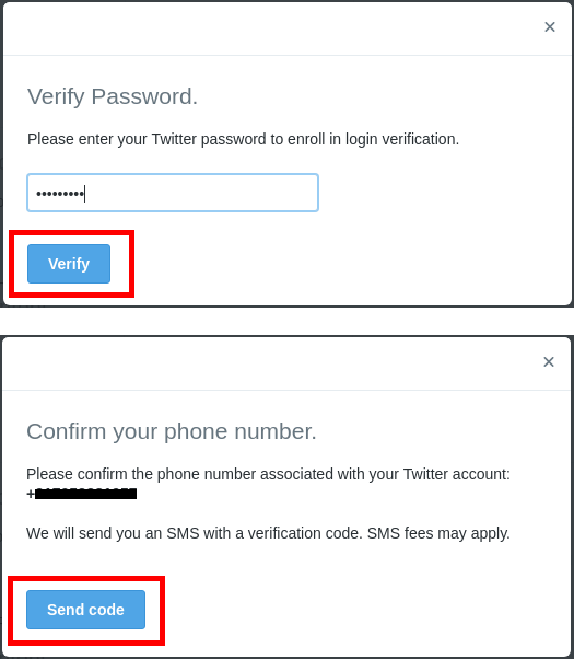 2 factor twitter verification pocess