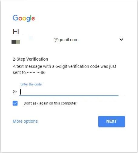 2 step verification gmail login