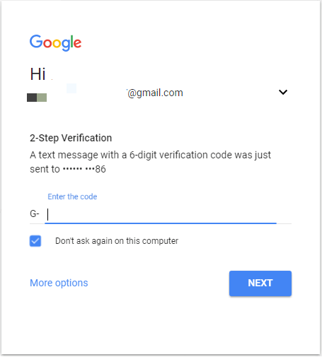 2 step verification gmail login