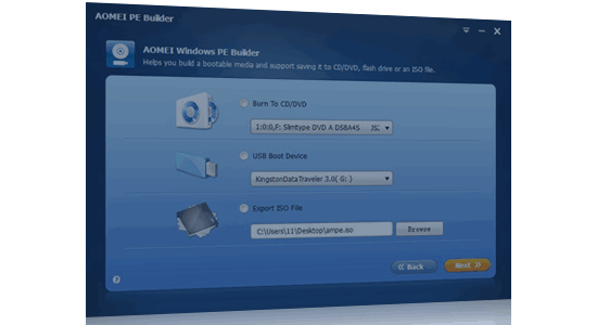 Create Bootable Media for Free with AOMEI PE Builder