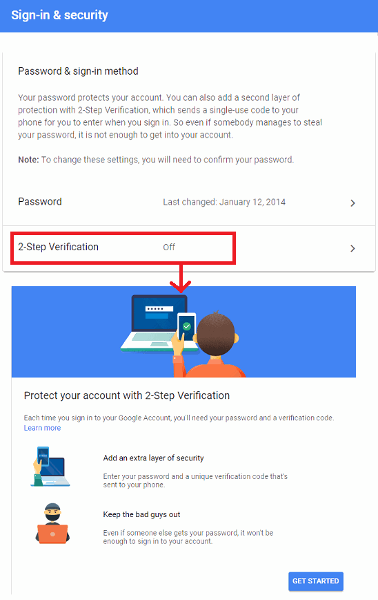gmail 2 factor authentication