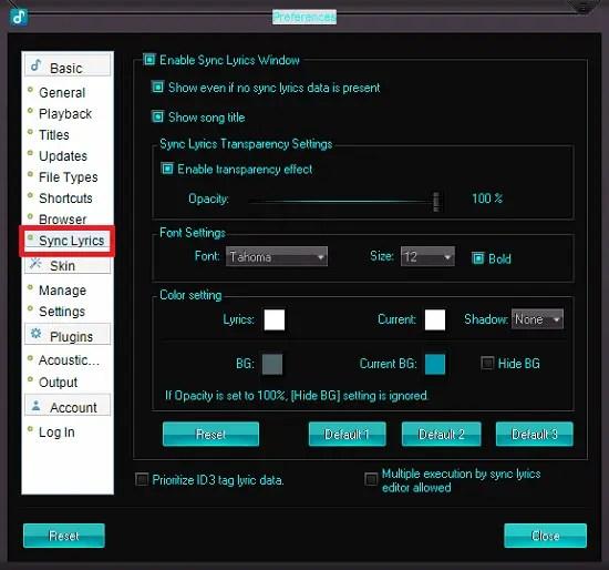 gom audio lyrics preferences