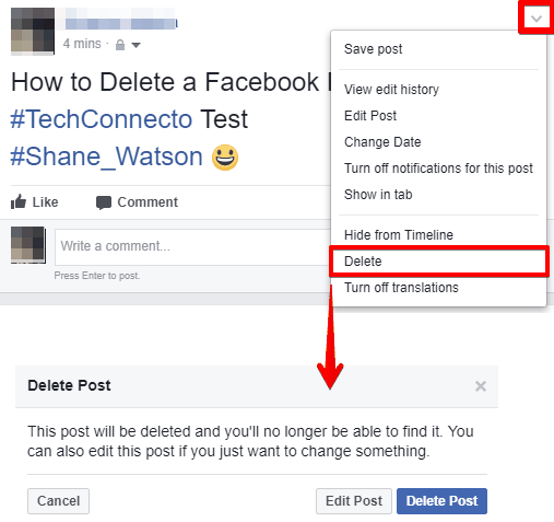 How To Delete A Facebook Post On Web