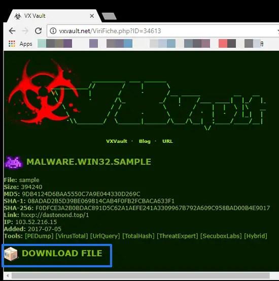 vxvault virus sample
