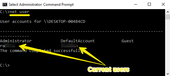 Administrator Command Prompt net user