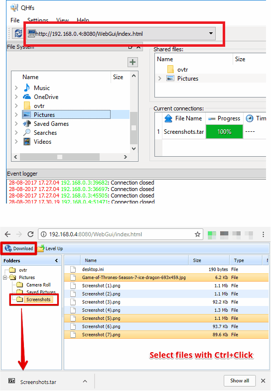 Qt Simple Http File Server sharing url