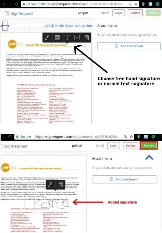 adding signature to document