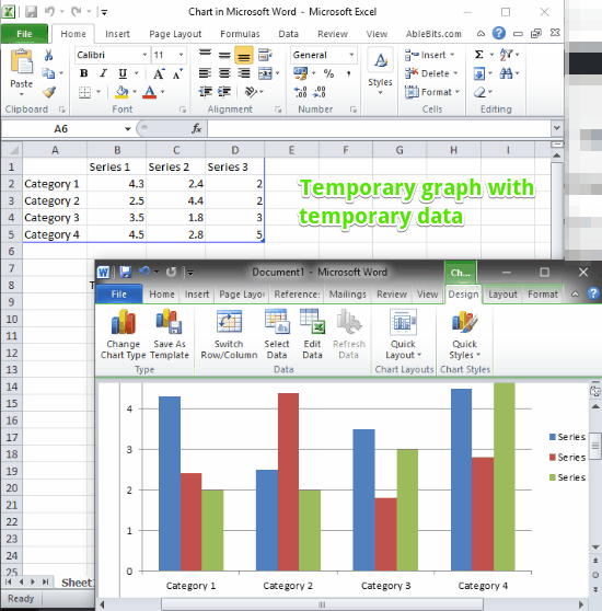 temporary graph ms word