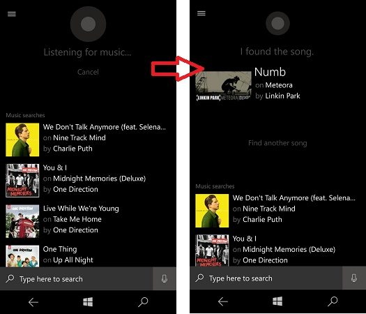 Cortana identified song playing nearby