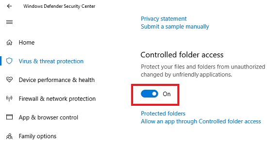 enable controlled access folder