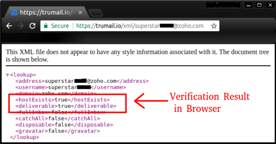 trumail email verification in browser