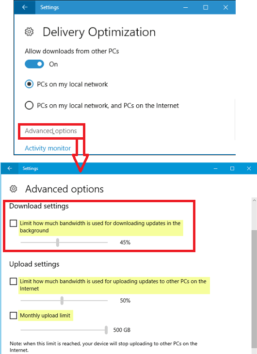 limit control windows update bandwidth in windows 10