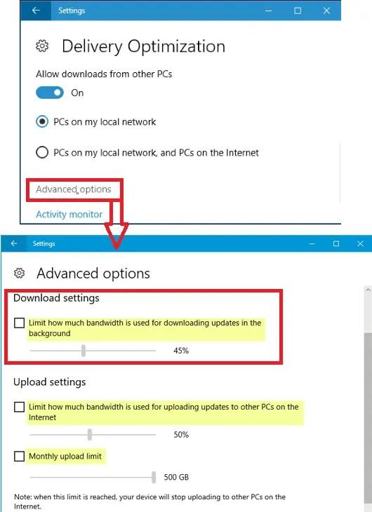 limit control windows update bandwidth in windows 10