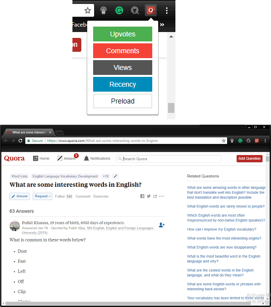 quora sort answers by views, upvotes, comments and date