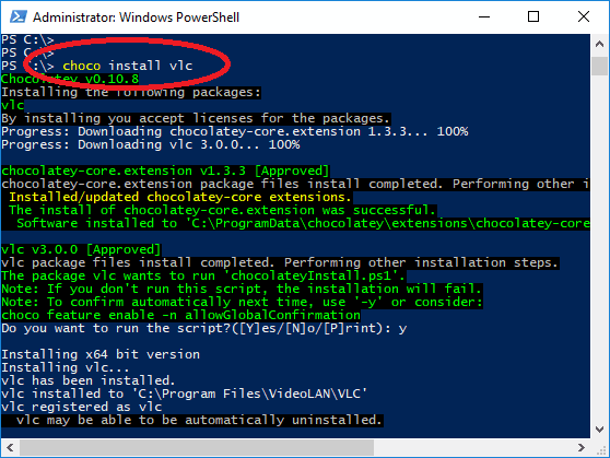 choco install packages in windows 10 from command line