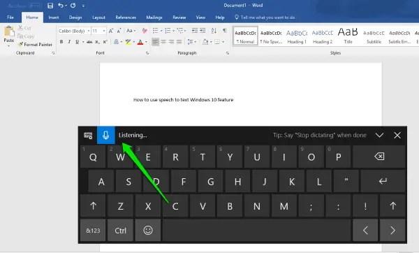 speech to text windows 10