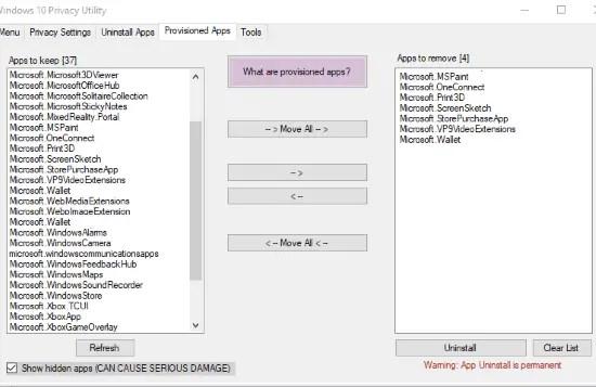 remove provisioned apps in windows 10