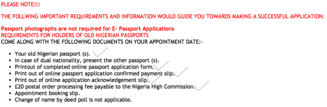 docs for london 1 - How to renew expired Nigerian Passport  In London