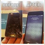 Picture of an iphone screen replacement tech corner performed on a black iphone 6 screen