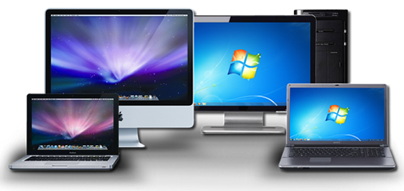 imac and macbook pro with windows desktop PC and windows laptop
