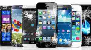 Picture of cracked iphone and android phones including apple, samsung, windows and htc phones