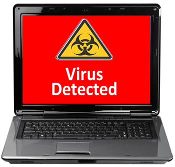 picture of laptop pc with virus detected