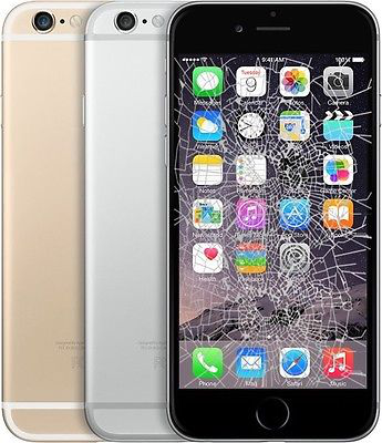 Picture Of Black Silver And Gold Iphone 6 Plus With A Broken Lcd Screen